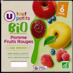 Pots dessert pomme fruits rouges Tout Petits Bio U, dès 6 mois 4x100g