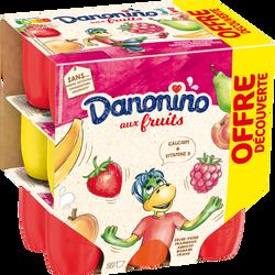 Petits suisses aux fruits panachés DANONINO, 2,1%mg, 18x50g