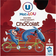 Lou Crème Dessert Saveur Chocolat U Mat Et Lou, 4 Gourdes De 85g