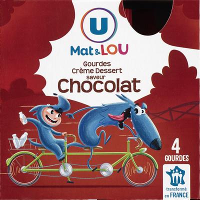 Crème dessert saveur chocolat U MAT ET LOU, gourdes 4x85g, 340g