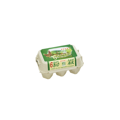 Oeufs de poules élevées en plein air gros bio COQUY, x6