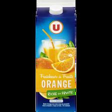 Jus fraîcheur de fruits orange riche en fruits U, brique de 2L