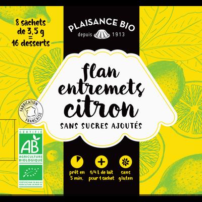 Entremets non sucré citron bio PLAISANCE BIO,  8 sachets, 1/4 litre, 28g