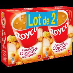 Soupe instantanée gratinée oignons et croutons ROYCO, 2x4 sachets 160cl