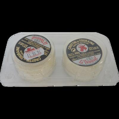 Crottin de Touraine AOP lait pasteurisé 25% de MG, VERNEUIL, blister de 2x60g soit 120g