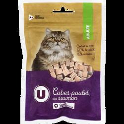 Cubes poulet au saumon chat, U, 80g
