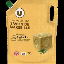 Lessive liquide éco-recharge savon de marseille U 30 lavage 1,5 litres