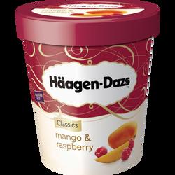 Crème glacée Mango & Raspberry, HAAGEN DAZS, pot de 430g