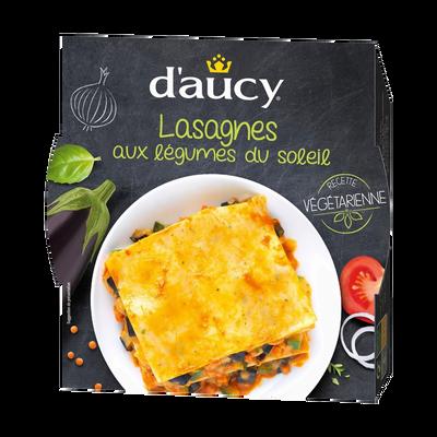 Lasagnes aux légumes du soleil recette végétarienne D'AUCY, barquettemicro-ondable de 320g