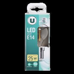 Led U, Mini, ronde, 25w, e14, transparent, lumière chaude