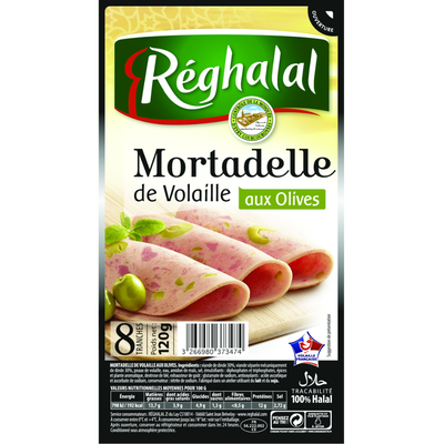Mortadelle de dinde aux olives halal REGHALAL, 8 tranches, 120g