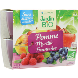 Dessert biofruit pommes/myrtilles/framboises JARDIN BIO 400g