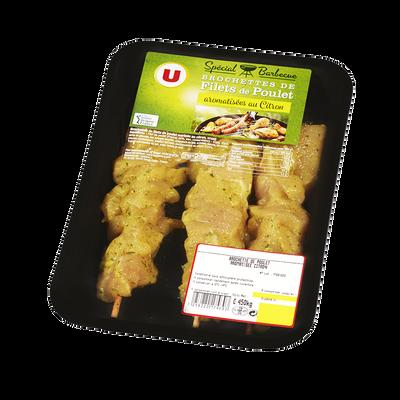 Brochette de filets de poulet marinées aromatisées au citron, U, 3 pièces, 450g