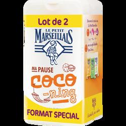 Gel douche parfum coco LE PETIT MARSEILLAIS, 2 flacons de 250ml