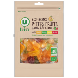 Bonbons ptits fruits sans gélatine U BIO, sachet 120g