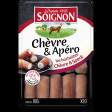 Soignon Les Bûchettes Chèvre Et Speck , 24% De Mg, 20 Tranches, 100 G