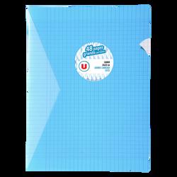 Grand cahier piqure U, grands carreaux, 24x32cm, 48 pages, bleu