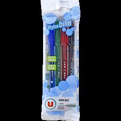 Stylo bille U, pointe moyenne, coloris assortis: bleu, noir, rouge, vert