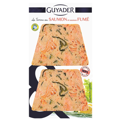 Terrine de saumon fumé GUYADER, 2 tranches, 120g