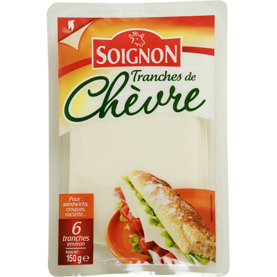 Fromage de chèvre en tranches au lait pasteurisé 33% de MG SOIGNON, 150g