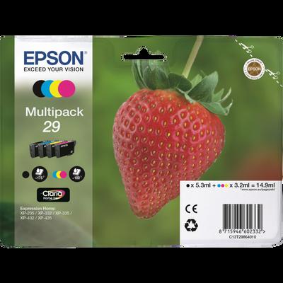 Pack 4 cartouches d'encre EPSON C13T29864020 Fraise sous blister