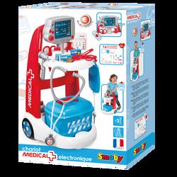 Chariot médical électronique SMOBY-nombreux accessoires:flacons/seringues/thermomètre/boîtes/ciseaux/pince/otoscope/cartes/stéthoscopeetc-2 piles lr6 incluses-dès 3 ans