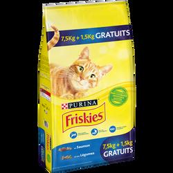 Croquettes saumon et légumes pour chat adulte FRISKIES, sac de 7,5kg +1 ,5kg offerts