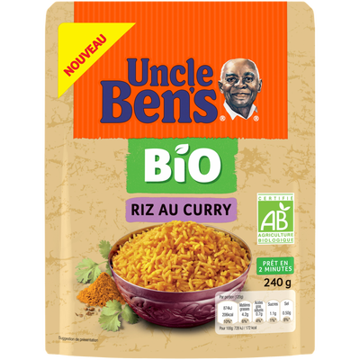 Riz express 2minutes saveur curry bio UNCLE BEN'S, pochon 240g