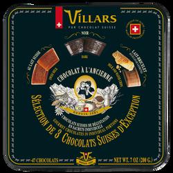 Chocolat noir à l'ancienne VILLARS, boîte en métal, 200g