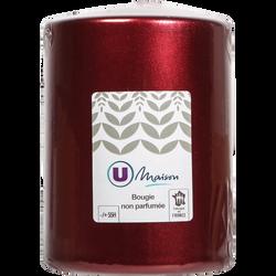 Bougie cylindrique U MAISON 78x110mm rouge métallisé
