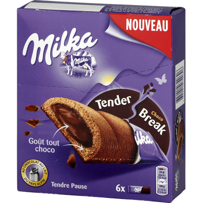 Biscuit tender break goût tout chocolat MILKA, paquet de 156g