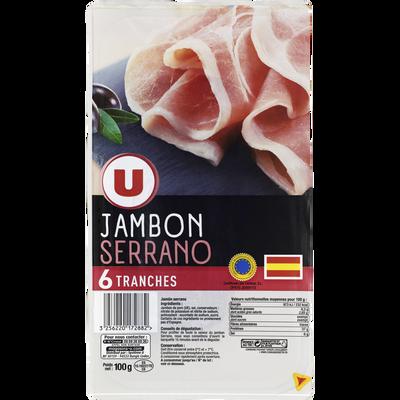 Jambon Serrano U, 6 tranches soit 100g