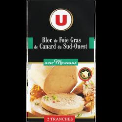 Bloc de foie gras de canard du Sud Ouest 30% de morceaux U, 2 tranchessoit  80g