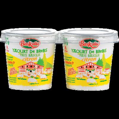 Yaourt pur brebis citron BASKALIA, 2 pots en carton de 125g