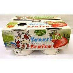 Yaourt bio au lait entier aromatisé fraise 4x125g Laiterie La Tourette