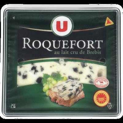 Fromage au lait cru de brebis AOP Roquefort U, 32% de MG, tranche de 150G