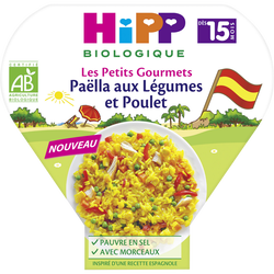 Petit pot bio pour bébé paëlla de légumes et poulet HIPP, dès 15 moisassiette 250g