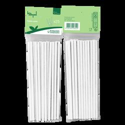 Paille, en carton, 6x197mm, blanc, 25 unités