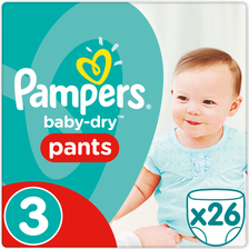 Culotte babydry pants PAMPERS, taille 3, 6 à 11kg, x26