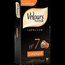 Espresso classique n°7 VELOURS NOIR, 10 capsules aluminium, 52g