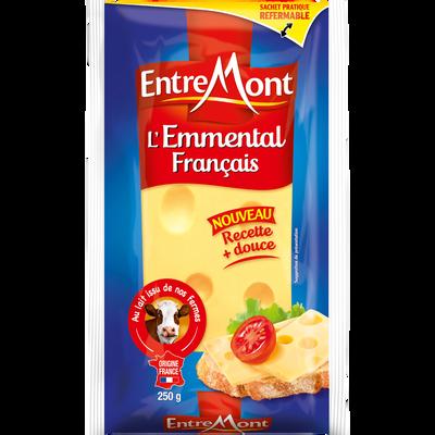 Emmental français au lait pasteurisé 29% de matière grasse ENTREMONT,250g
