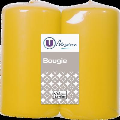 Bougies U MAISON, non parfumée, 48/90mm, jaune, 2 unités