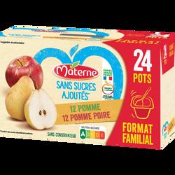 Dessert Fruits sans sucre ajouté pomme poire MATERNE, 24x100g