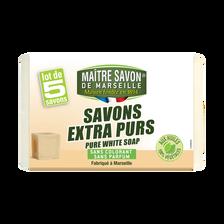 Savon de Marseille traditionnel pur blanc MAÎTRE SAVON DE MARSEILLE, 5x100g