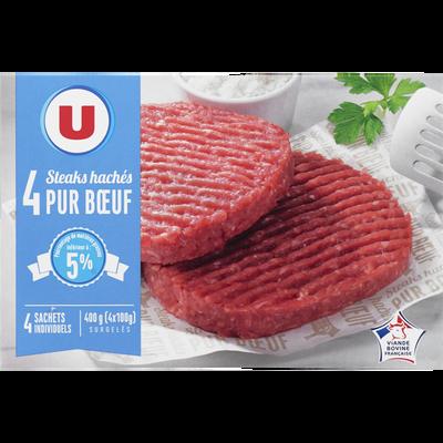 Steaks hachés pur boeuf Viande bovine française U, 5% de MG, 4x100g