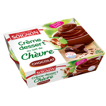 Soignon Crème Dessert Au Lait De Chèvre Goût Chocolat Soignon, 4x100g