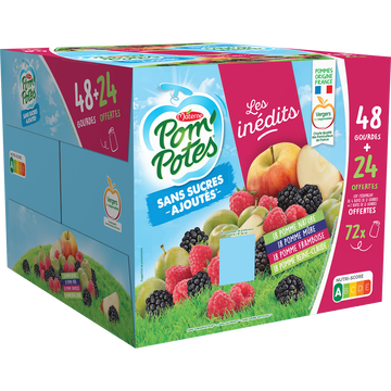 Materne Pom'potes Sans Sucre Ajouté Multivariétés Materne, 48x90g + 24 Offerts