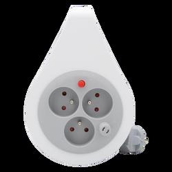 Mini enrouleur ultra compact 3 prises 16a 2p+t-cablé en hovv -f 3g1mm²de 7m gris clair