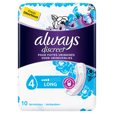Serviettes incontinence long, ALWAYS, paquet de 10