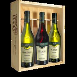 Vins du Jura FRUITIERE VINICOLE DE PUPILLIN, coffret bois de 3 bouteilles de 0.75l